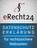 eRecht24-Siegel für die Datenschutzerklärung
